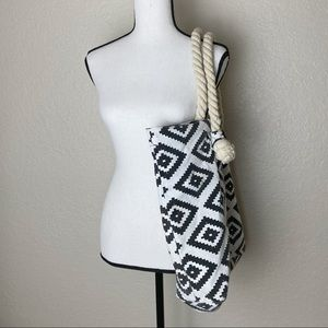 Bags - Boho Patterned Tote with Rope Handles